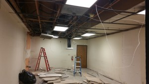 2015/01/14 Ceiling Tiles & Cross Bars being removed.